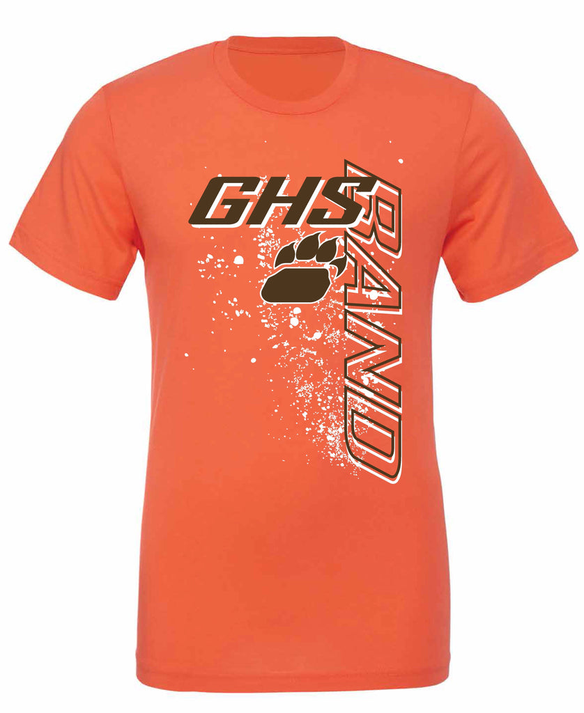 Ghs band vertical design t shirt available in orange for High school band shirts
