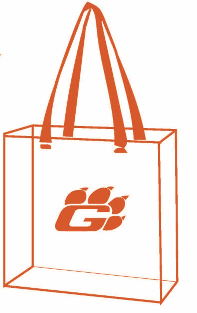 "CLEAR STADIUM TOTE BAG (ORANGE TRIM, GRISSOM ""G"")"