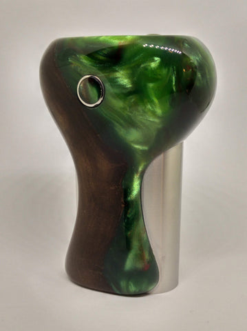 CurveS #019 Elm with Green Nebula Resin- Brushed SS