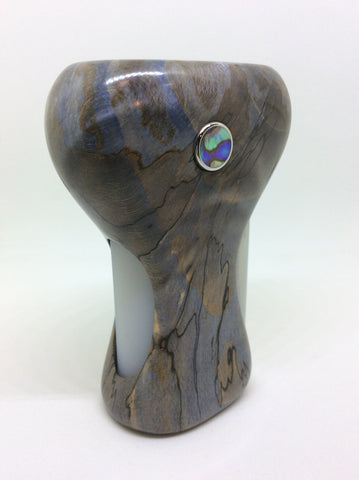CurveS #006 Stabilised Spalted Beech -Grey and Blue SS