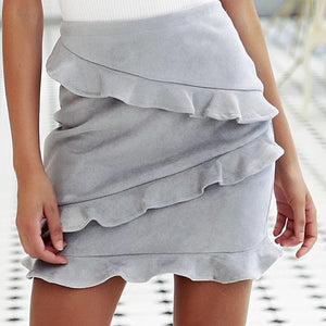 Leather Ruffled Skirt