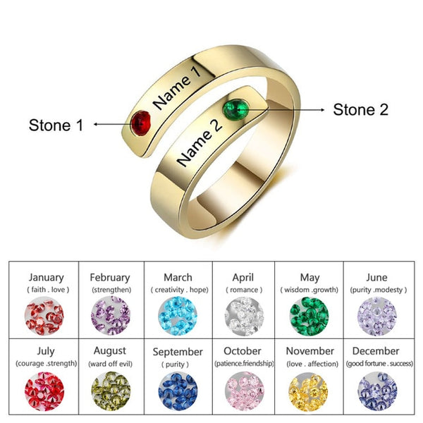 Birthstone Custome Name engraved Women Ring