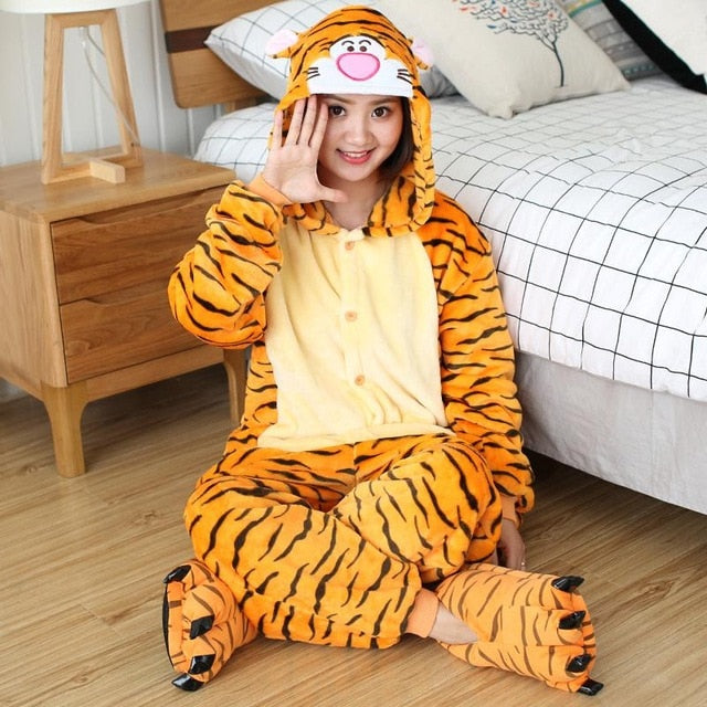 Jumping Tiger Onesies Sleepwear Pajamas