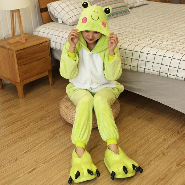 Light Green Frog Onesies Sleepwear Pajamas