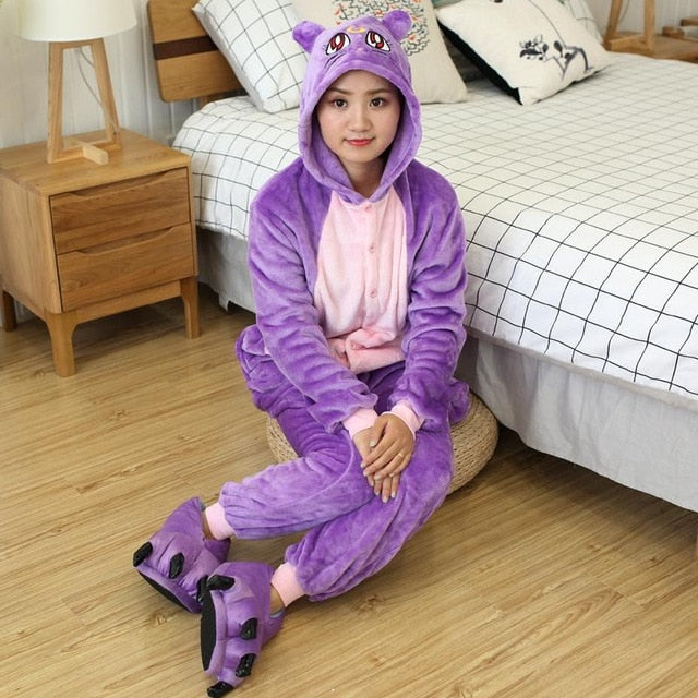 Purple Cat Onesies Sleepwear Pajamas