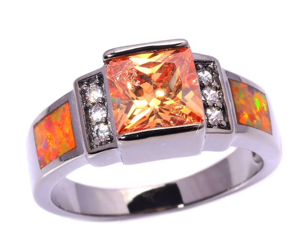 Orange Fire Opal Morganite Ring