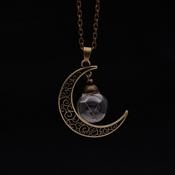 Crescent Moon Dandelion Wish Necklace