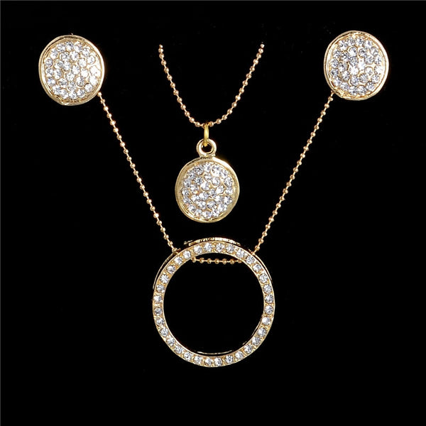 Gold Austrian Crystal Classic Hollow Round Jewelry Set