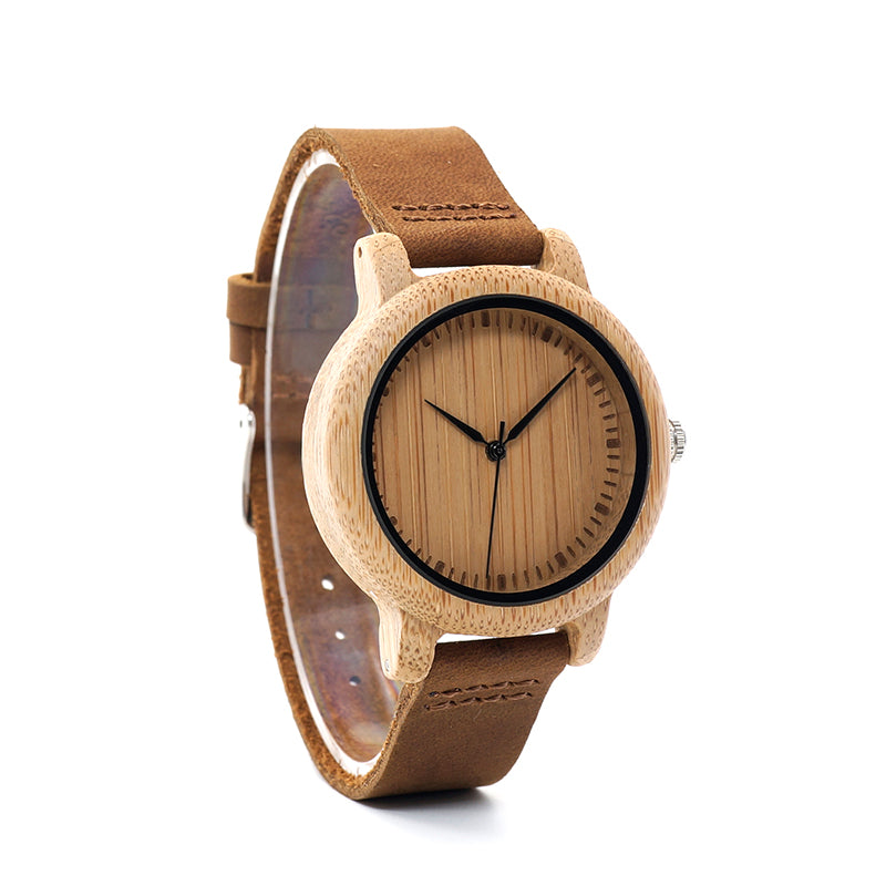 Coffee - A Light Bamboo Case with Brown Leather Strap