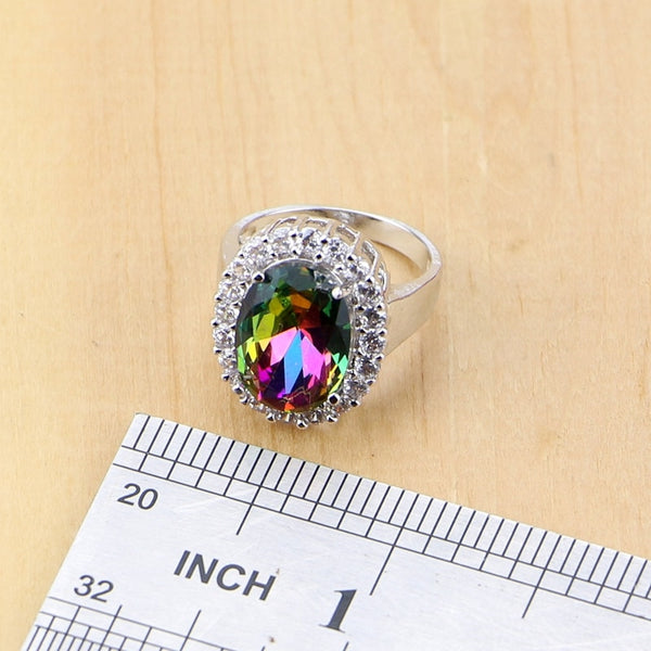 Mystic Rainbow Fire Cubic Zirconia Jewelry Sets