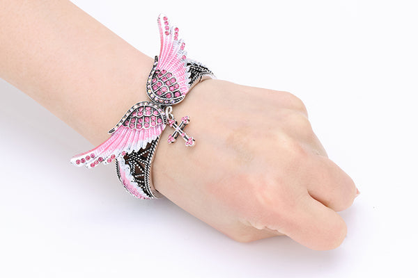 Angel Wings Cross Stretch Bracelet