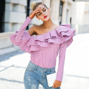 One Shoulder Ruffles Blouse