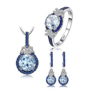 Splendid 5ct Sky Blue Topaz Spinel Fine Jewelry Set