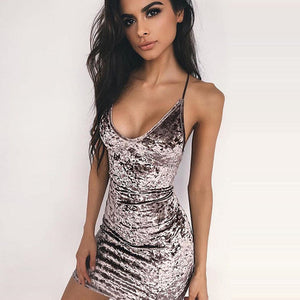 Sexy Back Cross Lace up Velvet Dress