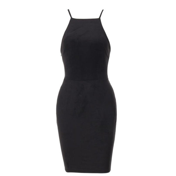 Velvet Strappy Bodycon Dress