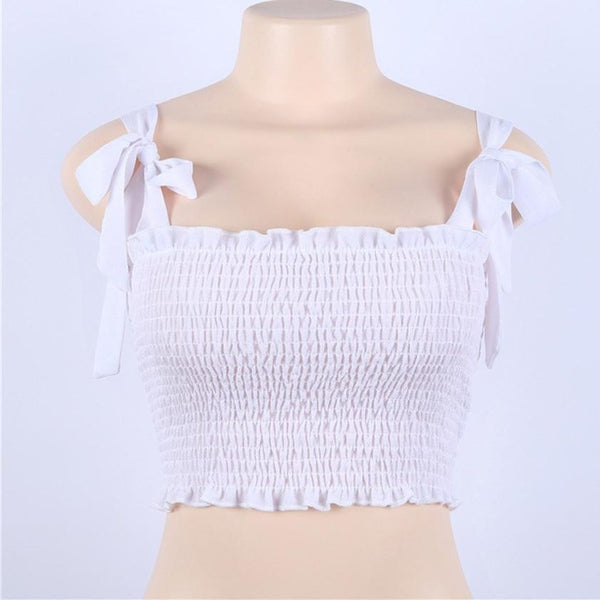 Bow Knot Pleated Slim Casual Tank