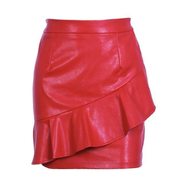 Ruffle Leather Skirt