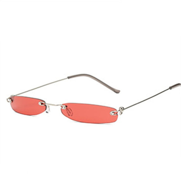 Small Narrow Retro Rectangle Rimless Sunglasses