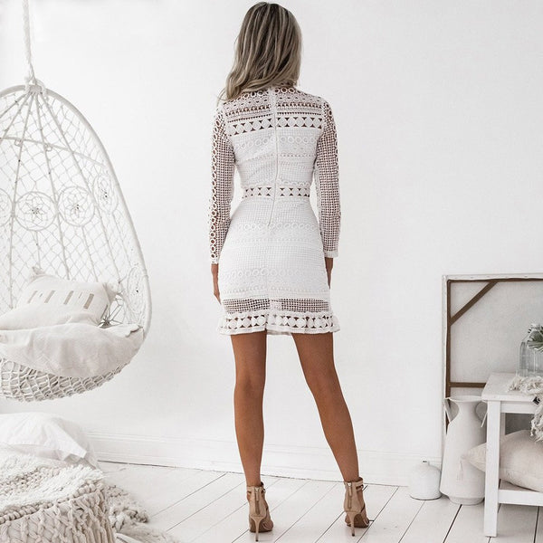 White Mini Lace Patchwork Dress