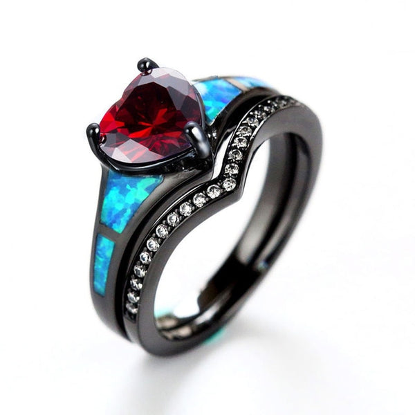 Gothic Heart Rainbow Opal Ring Sets