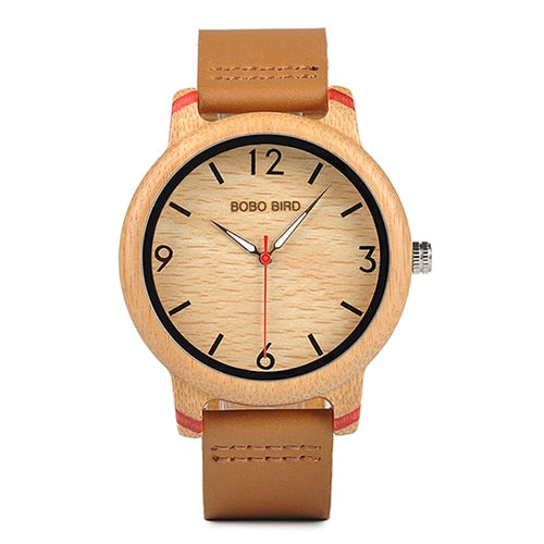 Moga - Bamboo Wood Watch with Red Leather Strap