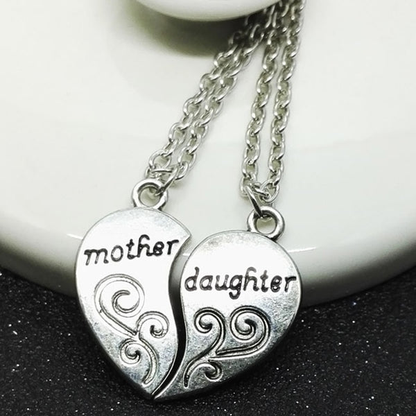 Mother and Daughter Heart necklace Pair