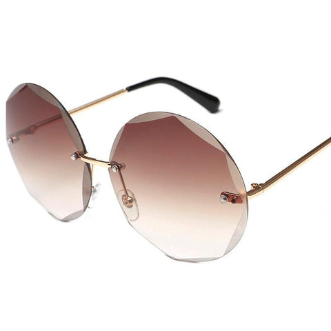 Round Cut Rimless Stylish Sunglasses
