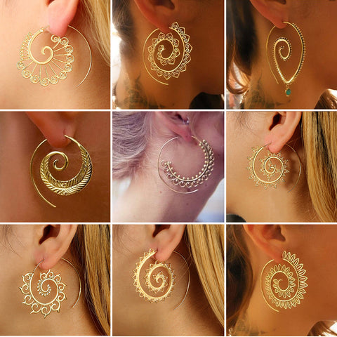 Ethnic Personality Heart Spiral Dangle Earrings