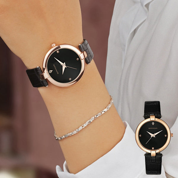 Fashion Golden Ladies Leather Wrist Watches