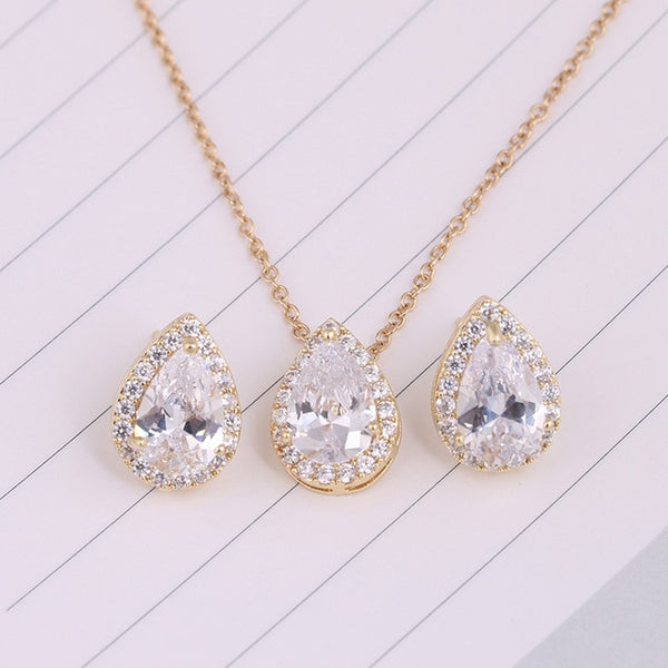 Water Drop Cubic Zirconia Wedding Jewelry Set