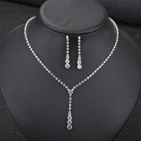 Crystals Drop Earrings And Pendant Necklace Jewelry Sets