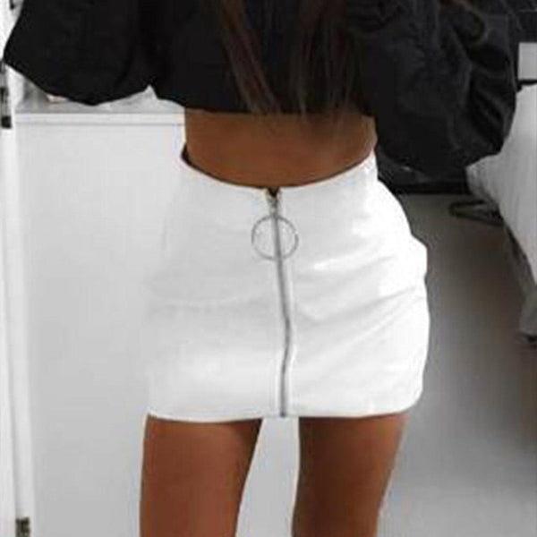 Zipper High Waist Leather Skirt