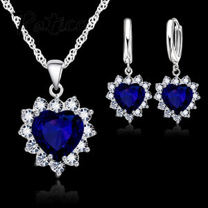 Love Cubic Zirconia Necklace & Earrings Jewelry Sets