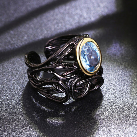 Neo-Gothic Blue Oval Zirconia Ring