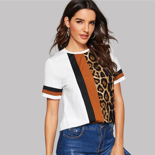 Block Cut-and-Sew Leopard Panel T-Shirt