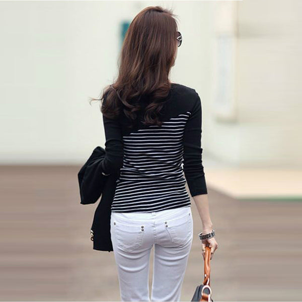 Long Sleeves  Casual Striped T-Shirt
