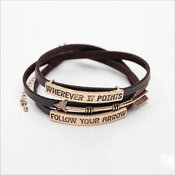 3 Rows PU Leather Follow Your Arrow Bracelet
