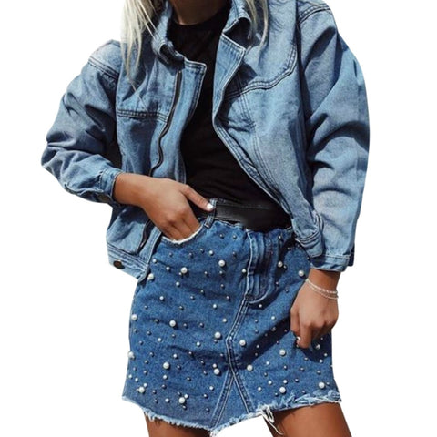 Pearl Denim Skirt