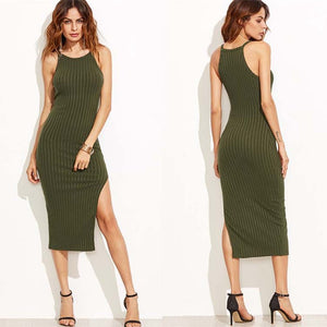 Side Slit Ribbed Midi Dress