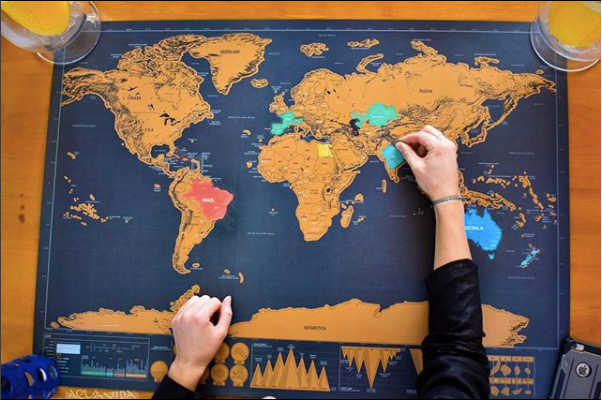 Scratch Off World Map Poster - Aqua Vida