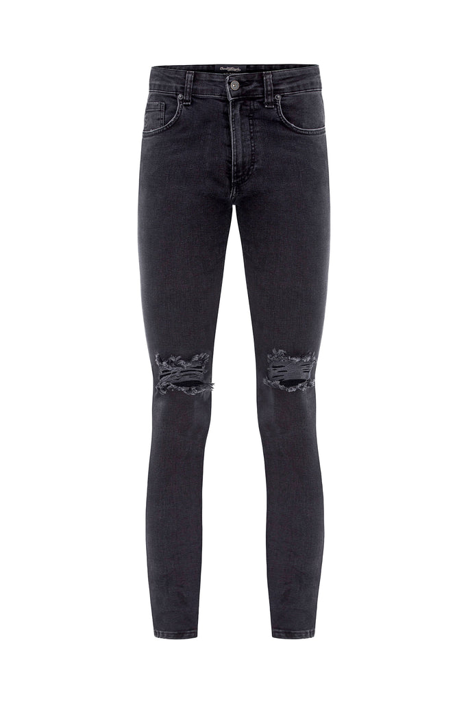 Crawler Ripped Jeans - Black
