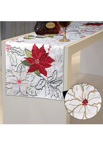 Seasonal Embroidered Floral Tablecloth