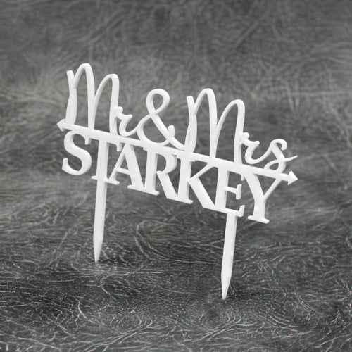 Mr & Mrs Personalied Acrylic Cake Topper