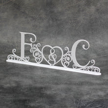 Load image into Gallery viewer, Wedding Initials (Swirls & Hearts) Freestanding Acrylic Centerpiece