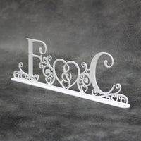 Wedding Initials (Swirls & Hearts) Freestanding Acrylic Centerpiece