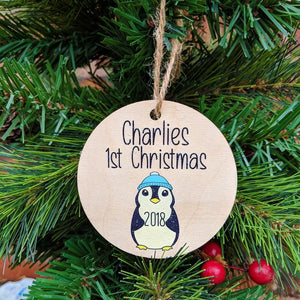 Printed Baby Boy or Girl Penguin 1st Christmas Bauble