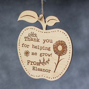 Thank You For Helping Me Grow Apple Plaque