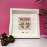 Personalised 3D Baby Feet Box Frame - I Heart Unique - 1