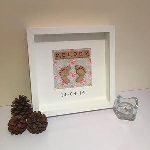 Personalised 3D Baby Feet Box Frame - I Heart Unique - 2