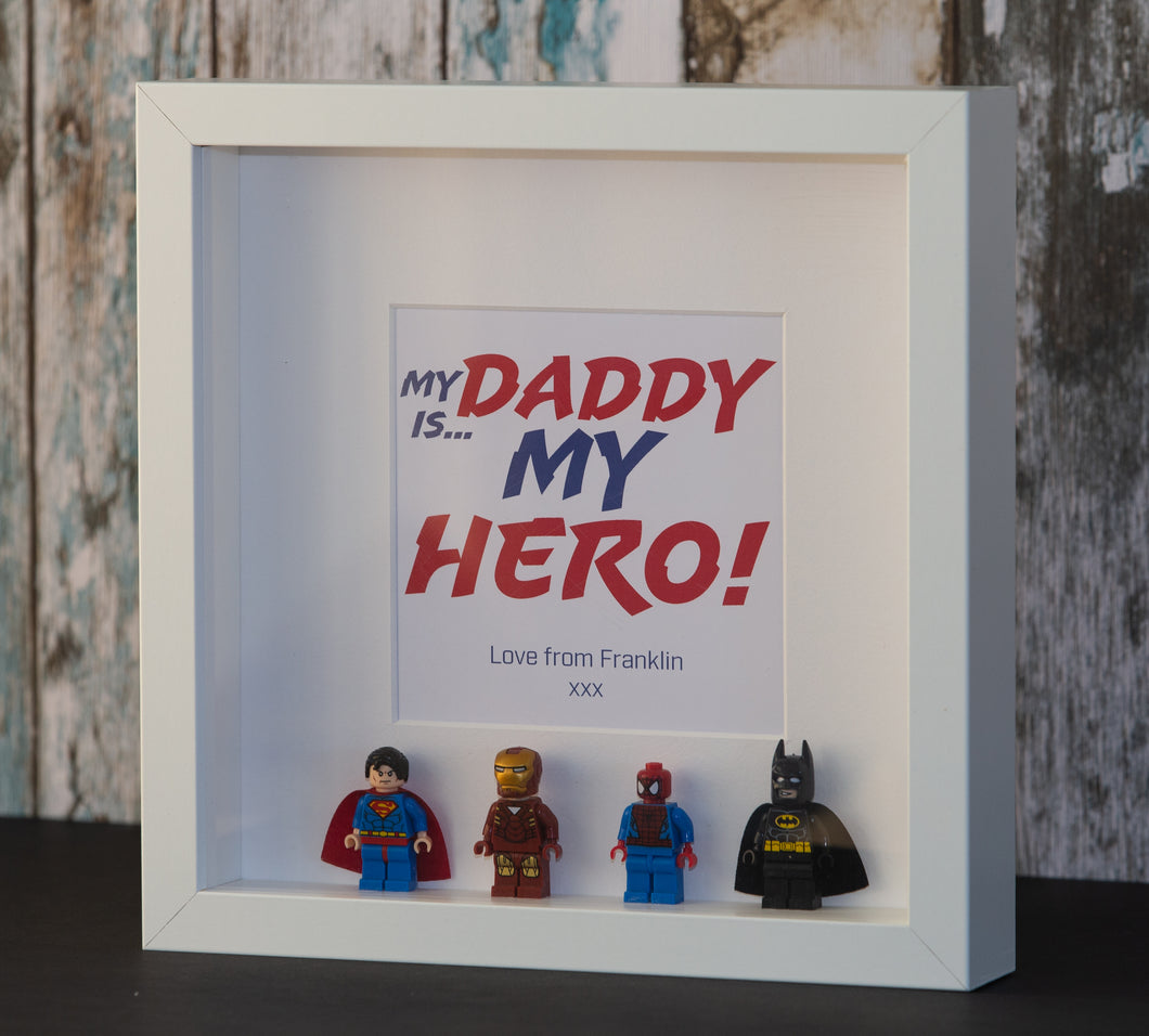 Mini Figure Super Hero Gift Frame (White or Black Frame Only)